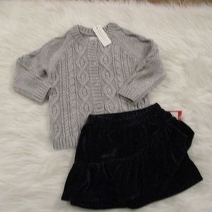 Girls Cardigan Sweater & Skirt